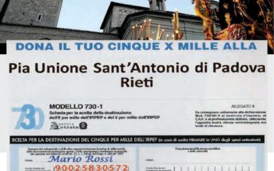 Dona il tuo 5×1000 alla Pia Unione Sant'Antonio di Padova Rieti